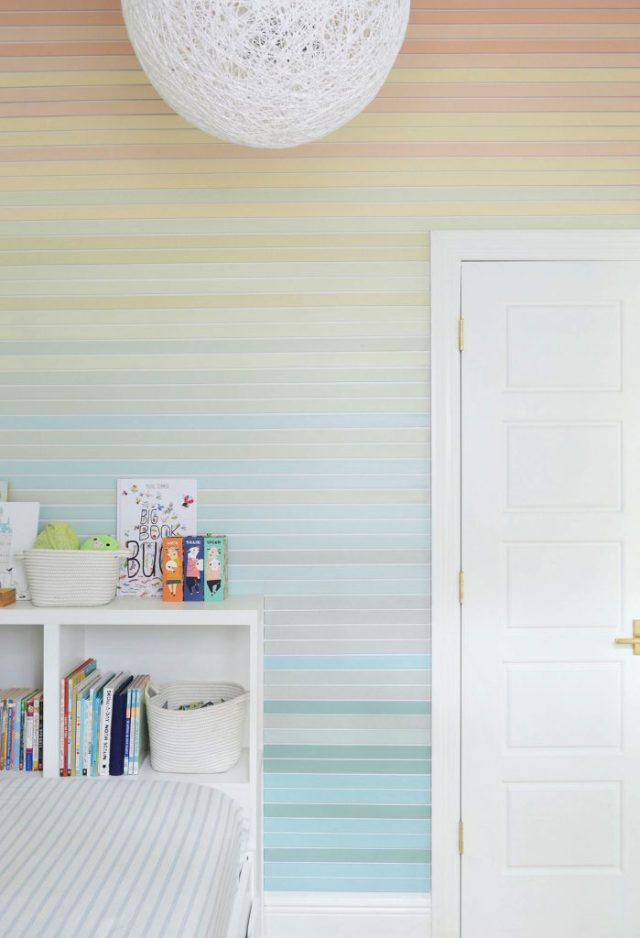 Floor To Ceiling View Straight On Of Colorful Stripe Wall Molding Treatment