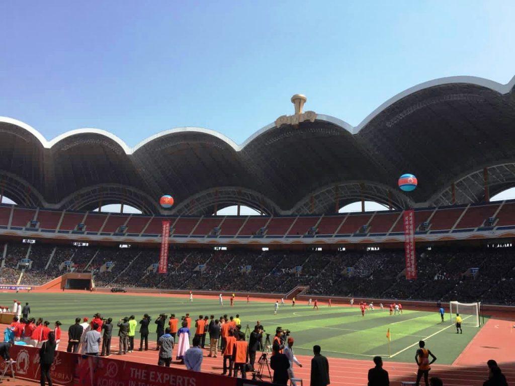Football match during the marathon