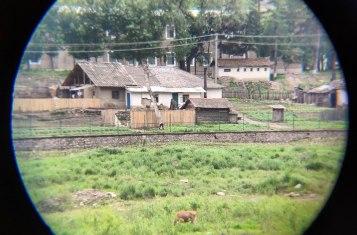 Views on North Korea from binoculars