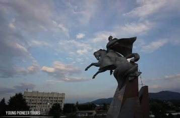 The statue of a horseman overseeing Tshinkval, South Ossetia