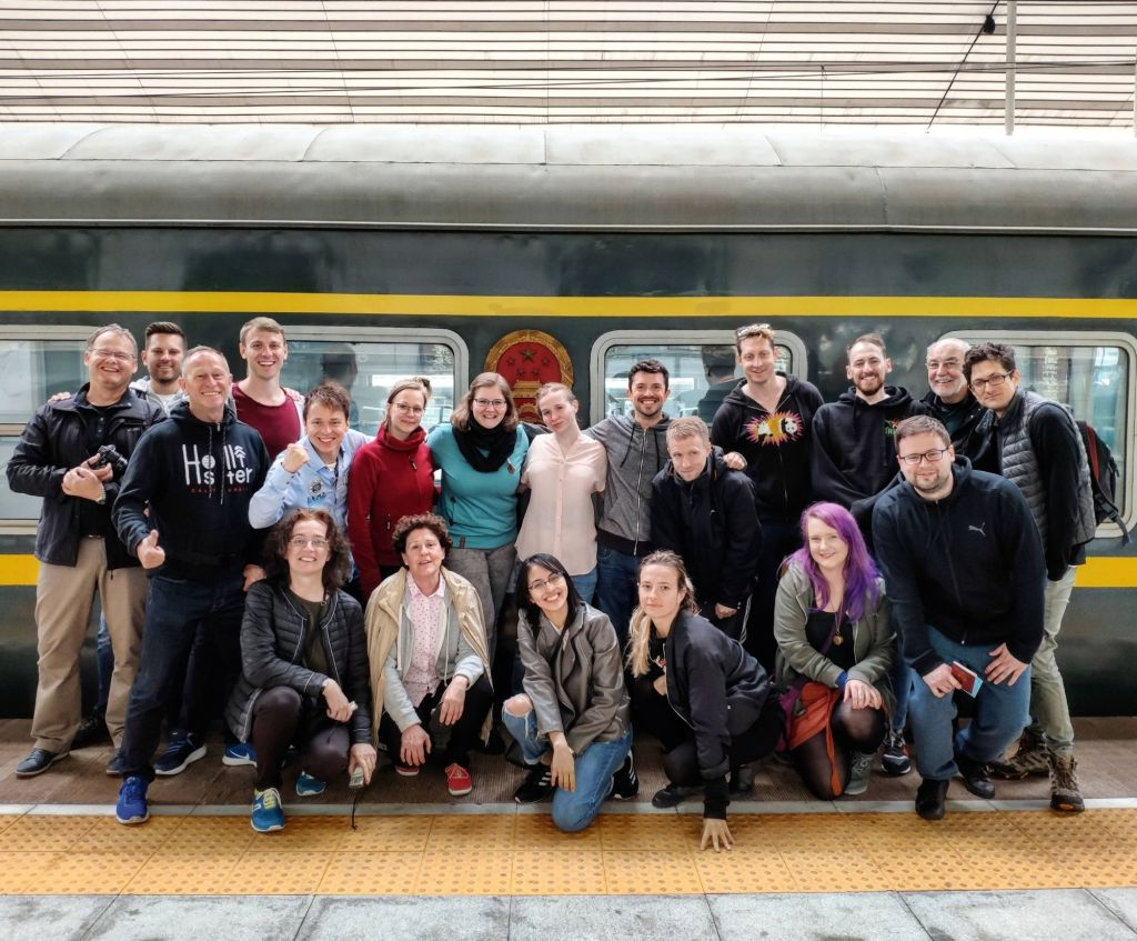 Our group in front of the train taking us from Dandong to Pyongyang