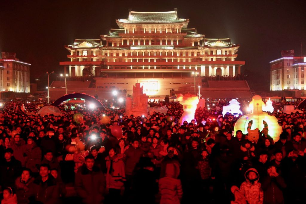 Kim Il Sung square being lit up for New Years in Pyongyang