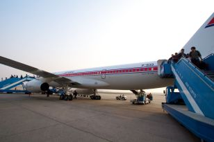 An Air Koryo plane -- currently it's not possible to take one from Seoul to Pyongyang.