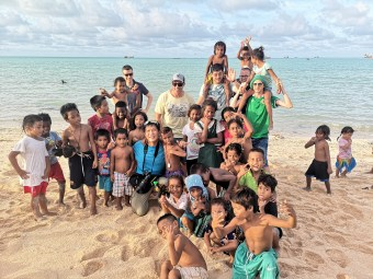 Our group mingling with kids in South Tarawa