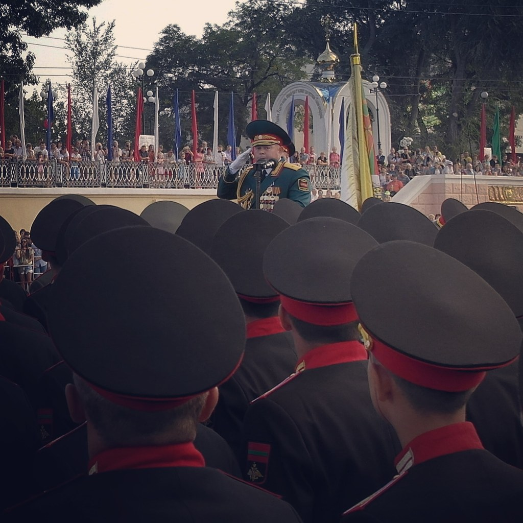 A Pridnestrovian general giving a speech during the National Day of Transnistria in Tiraspol