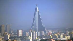 A wide shot of the Ryugyong Hotel.
