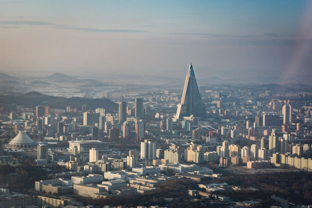 The Ryugyong hotel as seen from Pyongyang Skyline