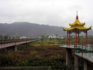 A pagoda on the Chinese side of the Tumen Bridge.