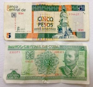 A 5-peso CUC note and a 5-peso CUP note.