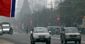 Traffic in the centre of Pyongyang, North Korea. | North Korean Cars