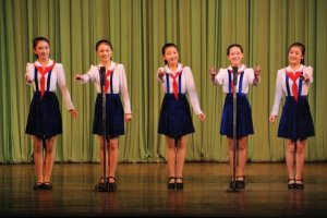 Five girls sing at a concert in Mangyongdae Childrens Palace