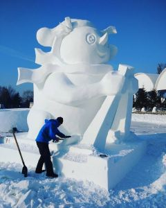 Giant ice sculpture in Harbin.