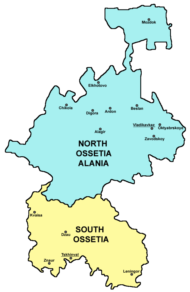 Divided countries: North and South Ossetia.
