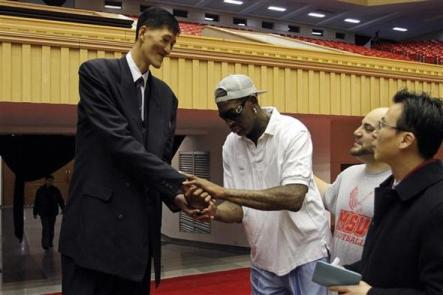 Ri Myung Hun, perhaps one of the most famous present-day North Korean celebrities, shakes hands with Dennis Rodman.