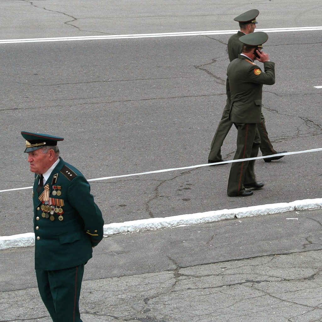An officer walks in the streets of Tiraspol, Transnistria