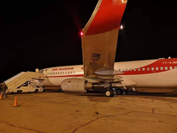 Air Algerie plane at night