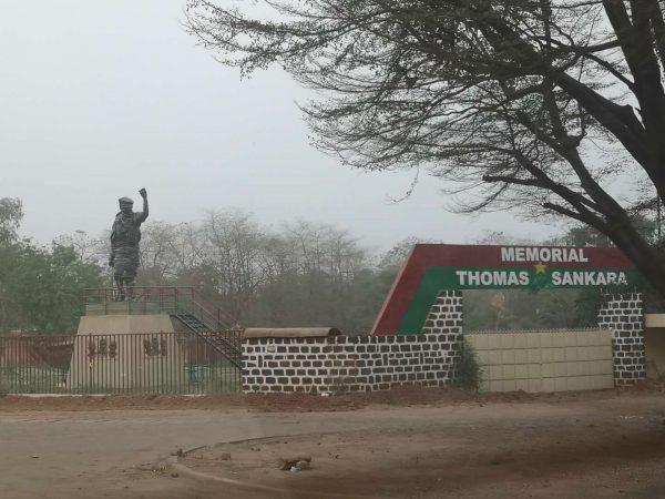 The statue of Thomas Sankara, yet to be unveiled, in Ougadougou, Burkina Faso