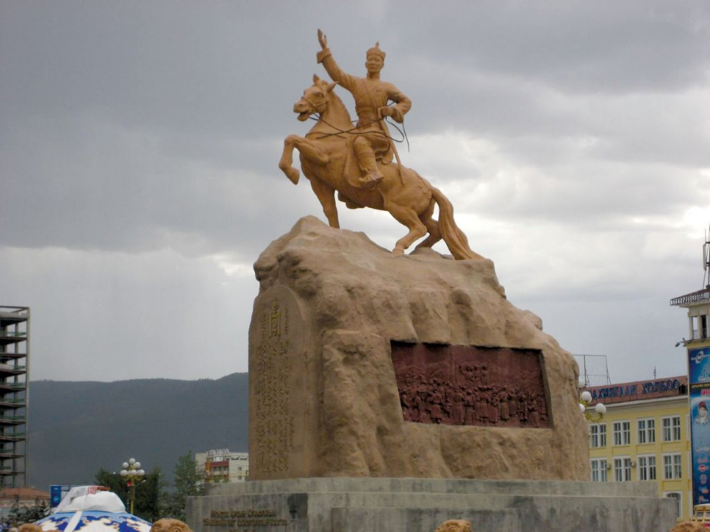 Statue of Damdin Sukhbaatar in the capital of Mongolia
