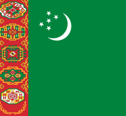 The flag of Turkmenistan