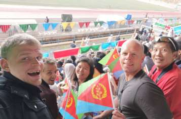 Our group of Pioneer spectating the Mass Games of Eritrea