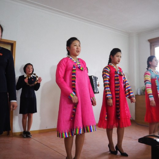 North Korean ladies wearing Hanbok, the traditional Korean dress