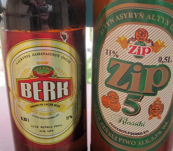 Zip and Berk, the two official beers of Turkmenistan and Central Asian Beers