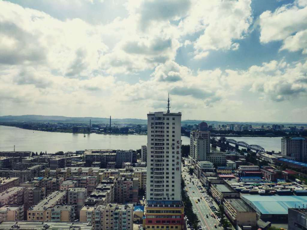 View of Dandong city from above