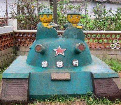 Statue for a tank from north Korean cartoon Squirrel and Hedgehog