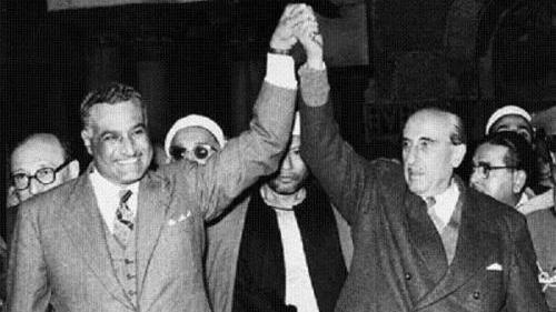 Nasser celebrating the founding of the United Arab Republic