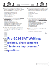 Pre-SAT Writing Sentence Improvements