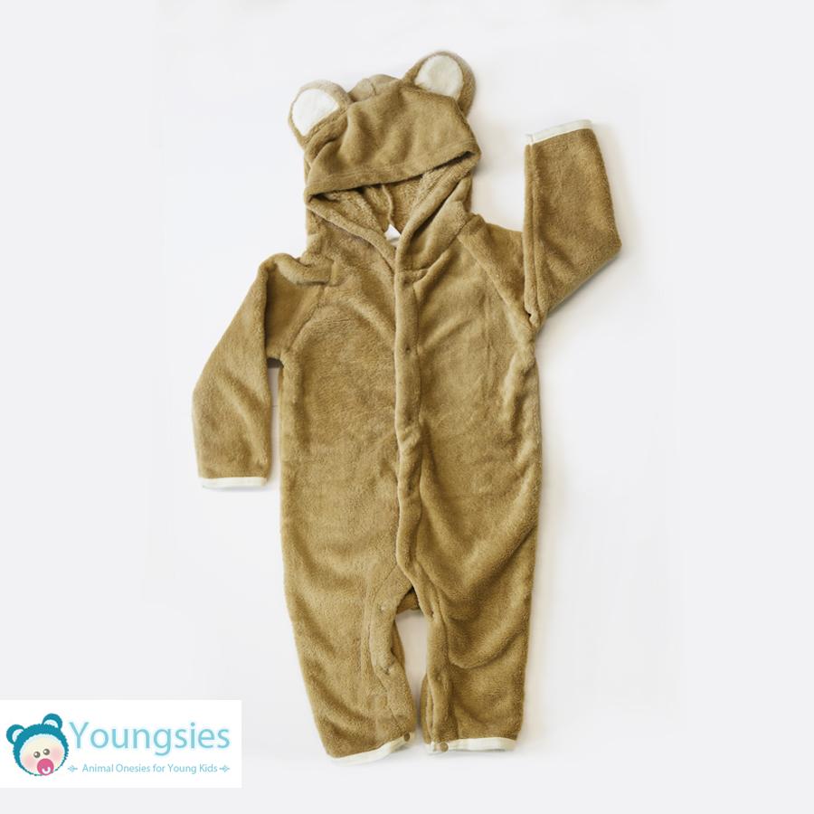 491aae666 Toddlers Bear Onesie Romper suit with feet and hood