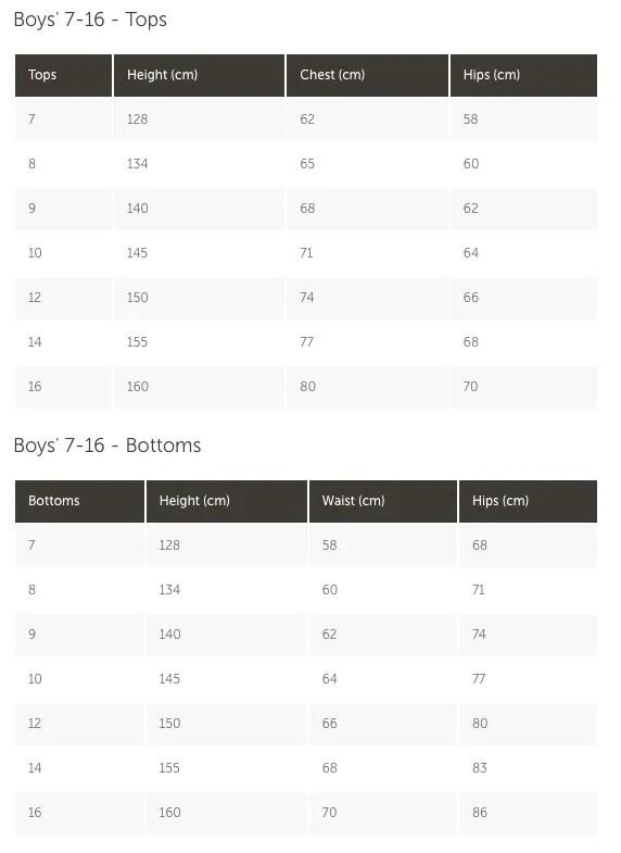 boys 7-16 size chart