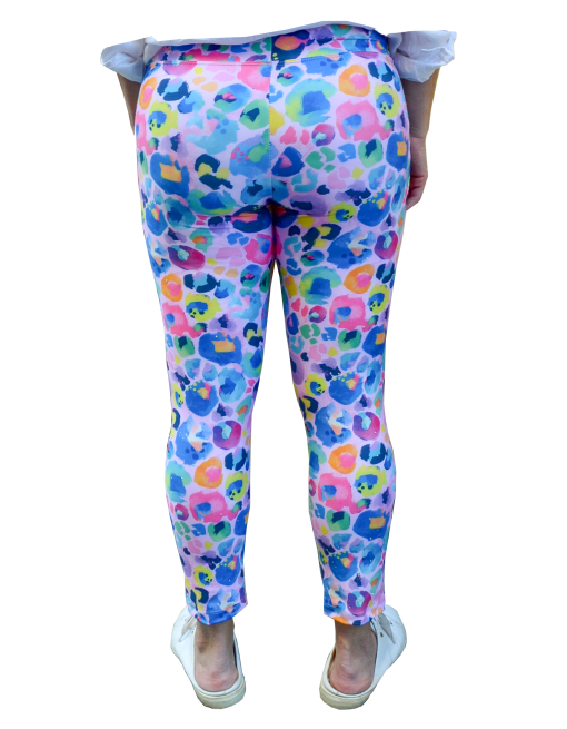 Back view of lycra leggings in colourful leopard print.