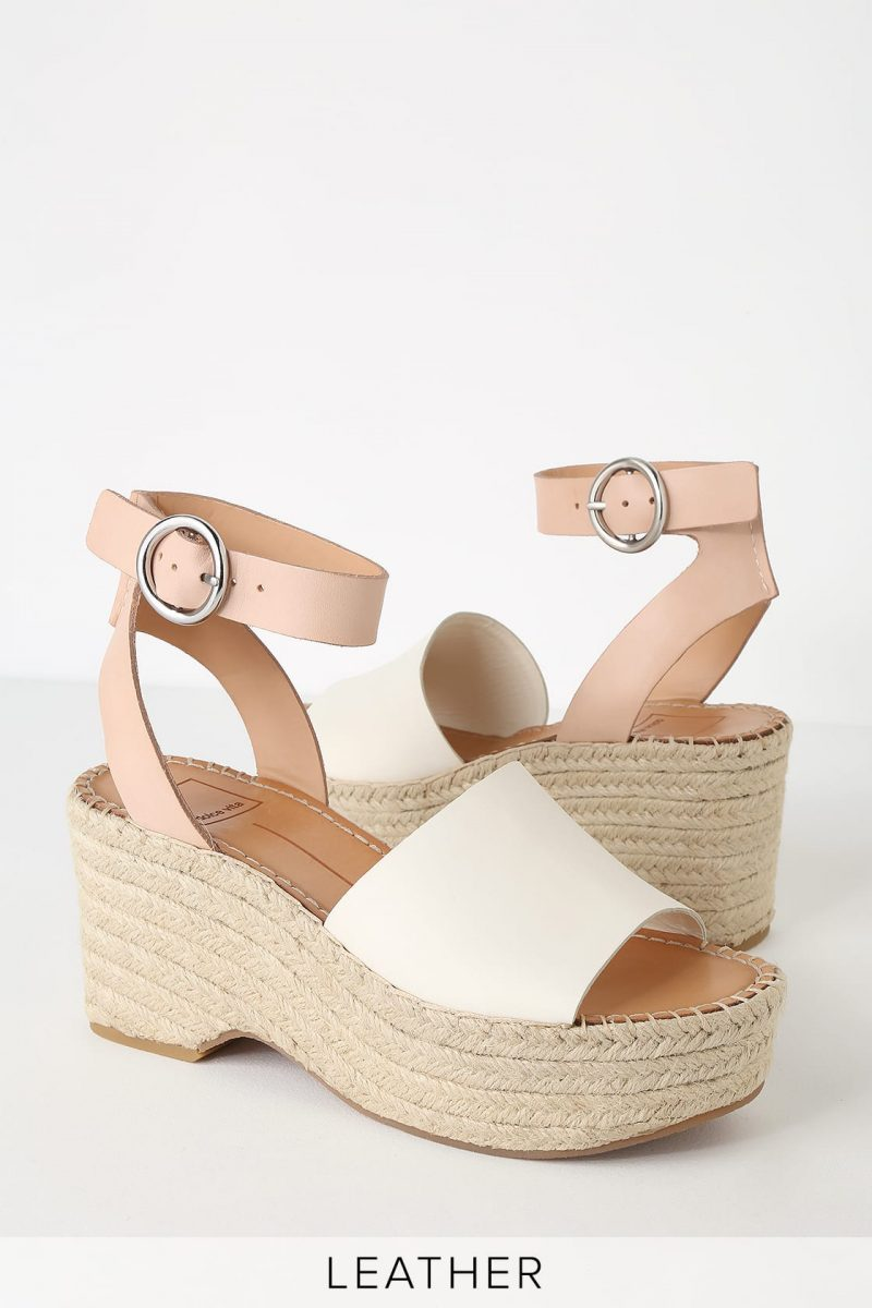 0144651c078 Dolce Vita Lesly White and Nude Espadrille Wedges - You Posh Girl
