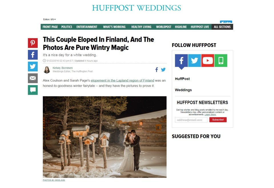 Finnish Lapland Wedding Featured on HuffPost Photos by Miss Ann