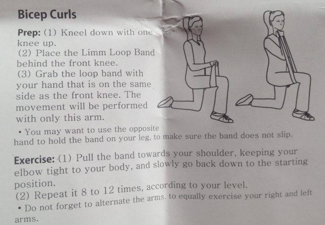 bicep curl using resistance loop bands