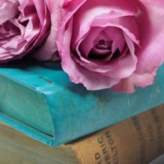 Vintage roses on books