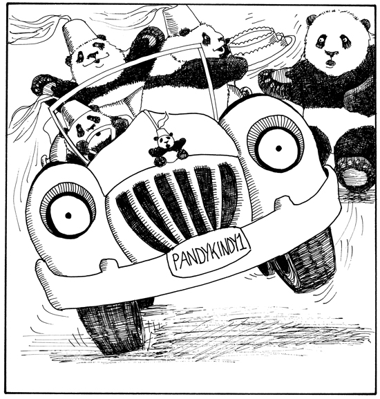 Nothing like the panda kindergarten, out for a joyride in their jalopy!