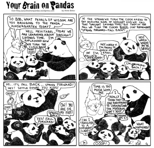 Bob explains daylight savings time to the panda kindergarten