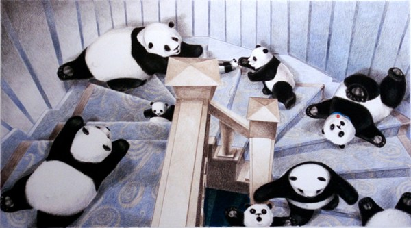 Notice the very sensible panda who is walking down the stairs and holding the handrail.  :o)