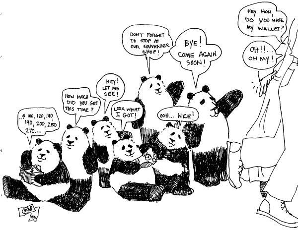 3) This cartoon appeared in Henry Nicholls' book The Way of the Panda