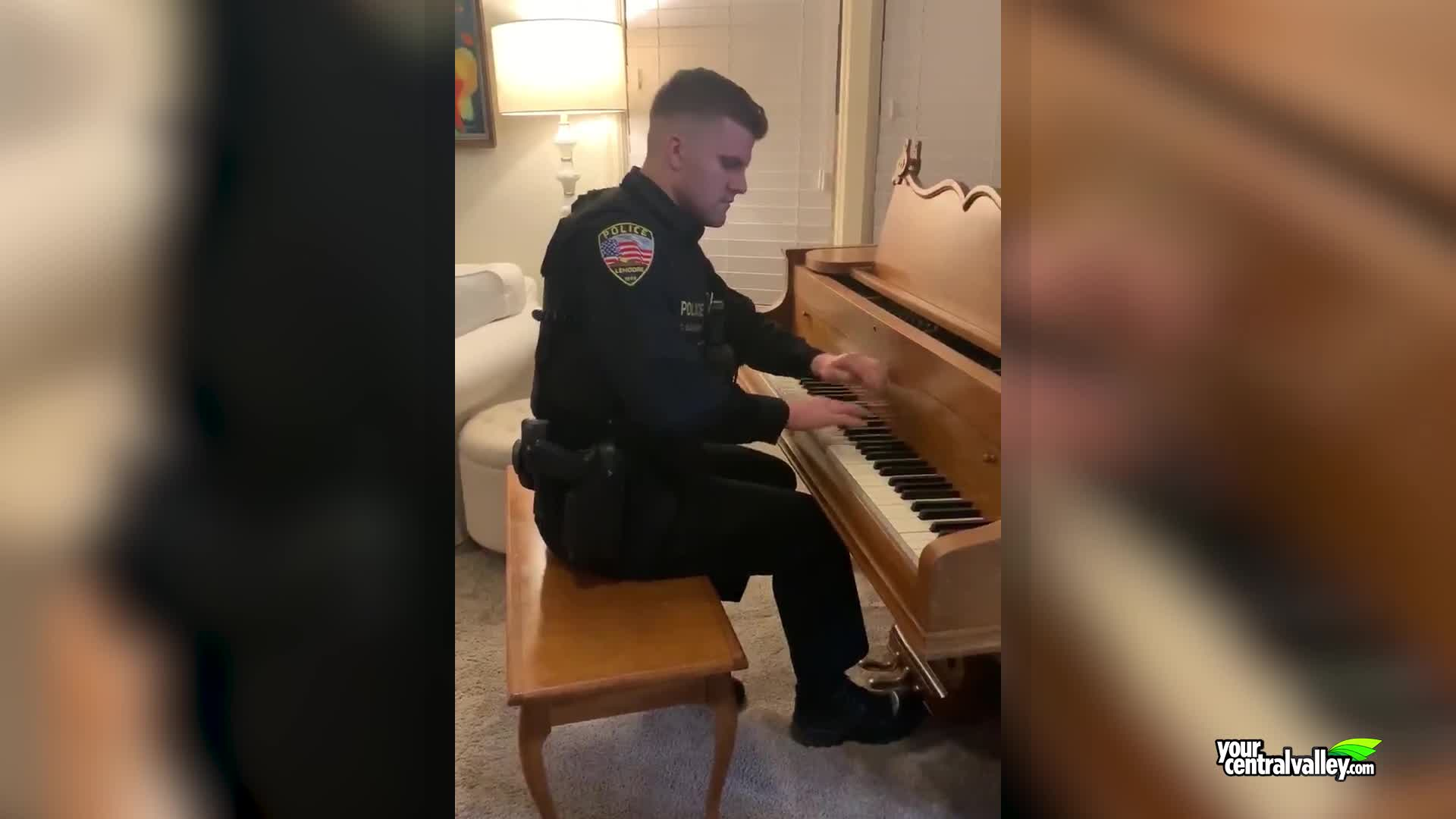 cop playing piano