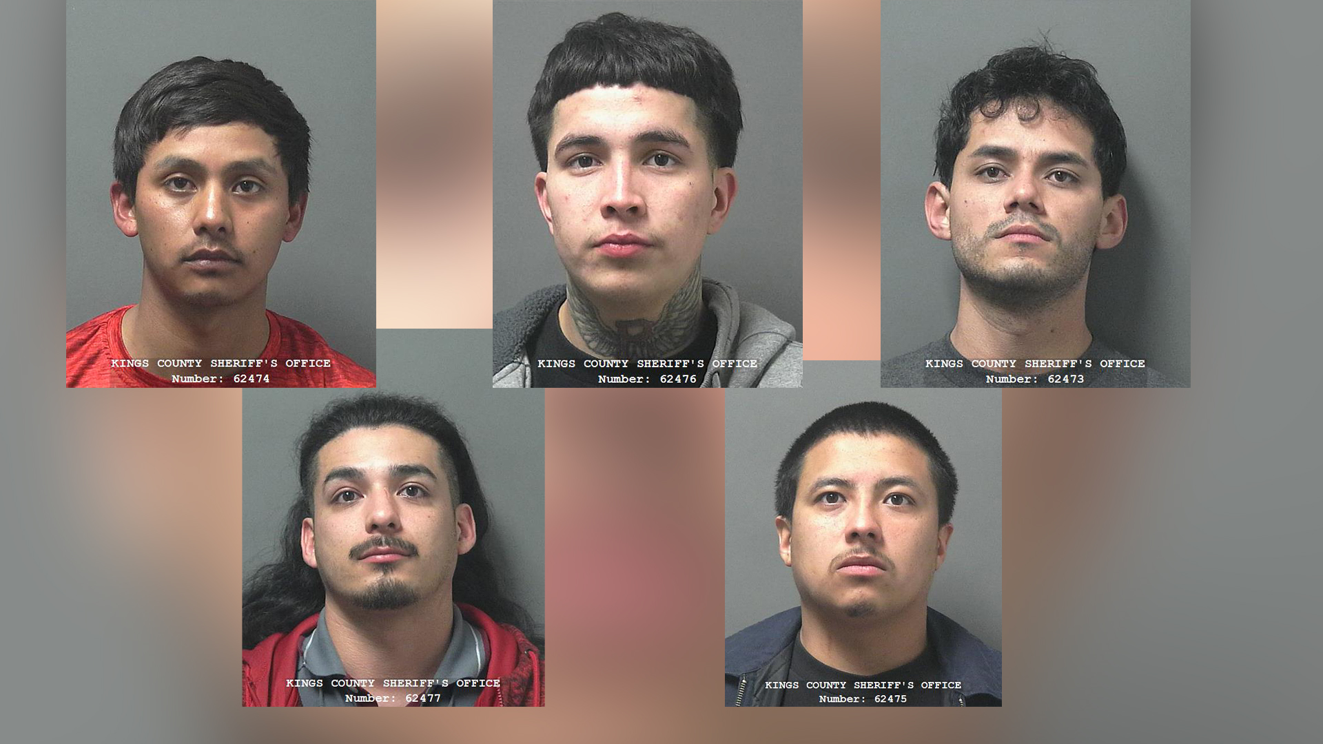 (Top, Left to Right) Sergio Lopez, Gemini Moreno, Jose Gomez. (Bottom, Left to Right) Lorenzo Diaz and Brian Segura Castro (Courtesy of the Kings County Sheriff's Office)