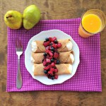Stuffed Crepes with Blueberry Pear Compote
