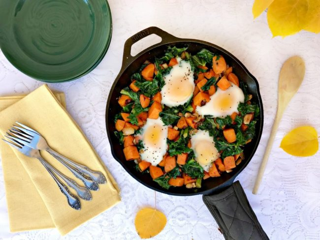 Sweet Potato & Kale Hash with Eggs #ad  |  Recipe via yourchoicenutrition.com