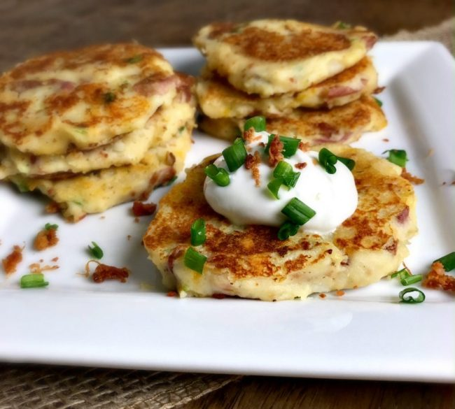 Loaded Potato Latkes. A great way to re-purpose those left over mashed potatoes into a whole new side dish! | recipe via www.yourchoicenutrition.com