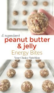 Peanut Butter & Jelly Energy Bites | recipe via www.yourchoicenutrition.com