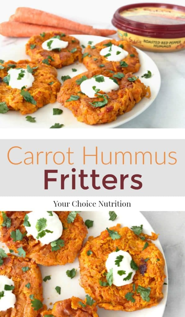 Tangy Carrot Hummus Fritters are a delicious and healthy appetizer to share with friends and family on any occasion! | recipe via www.yourchoicenutrition.com