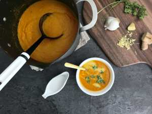 Turmeric, Ginger and Roasted Carrot Soup