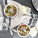 Vegetarian Pressure Cooker Minestrone Soup is a healthy recipe full of fiber, flavor and other good-for-you nutrition! Cozy up and enjoy a warm bowl on a chilly day. | recipe via www.yourchoicenutrition.com